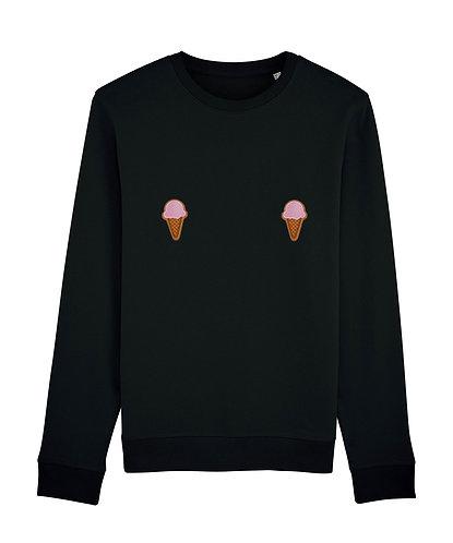 sweat, sweatshirt motif, imprimé, dessin, marguerite noir sur les seins, la poitrine, titsup