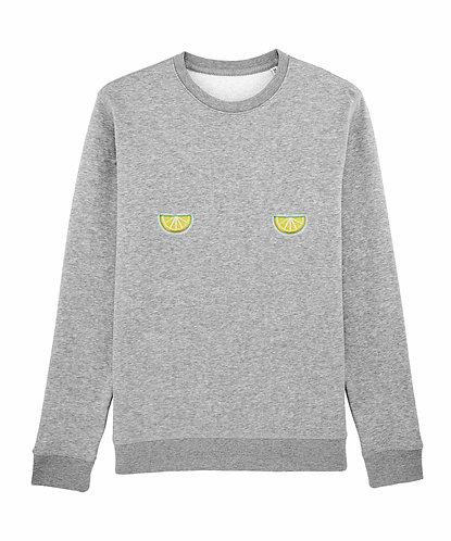sweat, sweatshirt motif, imprimé, dessin, citron, gris, sur les seins, la poitrine, titsup