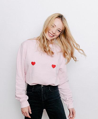 sweat, sweatshirt motif, imprimé, dessin,coeur rouge, rose, sur les seins, la poitrine, titsup