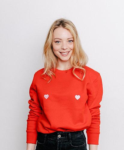 sweat, sweatshirt motif, imprimé, dessin, coeur rose, rouge, sur les seins, la poitrine, titsup