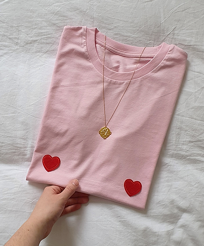 Red Pink Heart Titshirt