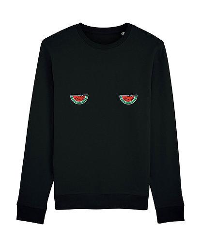 sweat, sweatshirt motif, imprimé, dessin, pasteque, noir, sur les seins, la poitrine, titsup