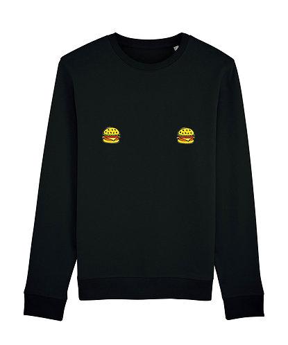 sweat, sweatshirt motif, imprimé, dessin, burger, noir, sur les seins, la poitrine, titsup