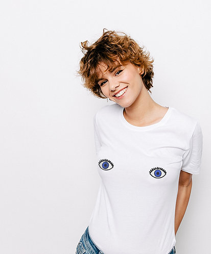 Tee-shirt, t-shirt motif, imprimé, dessin, yeux, blanc, sur les seins, la poitrine, titsup