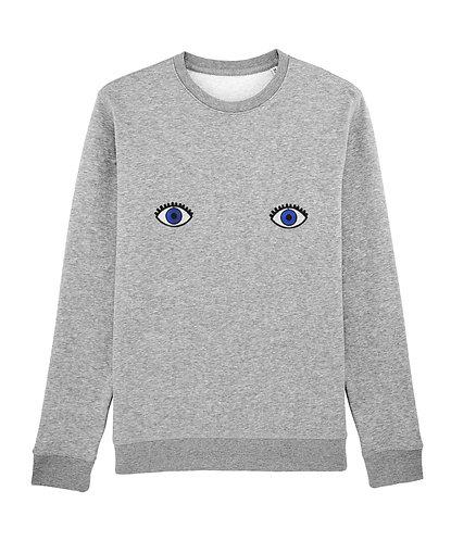 Sweat, sweatshirt, motif, imprimé, dessin, yeux, gris, sur les seins, la poitrine, titsup