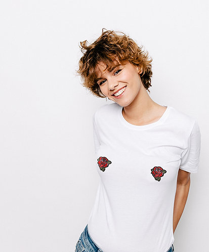 Tee-shirt, t-shirt motif, imprimé, dessin, roses, blanc, sur les seins, la poitrine, titsup