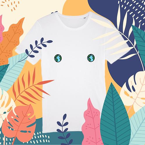 Tee-shirt, t-shirt motif, imprimé, dessin,planete, terre, blanc, sur les seins, la poitrine, titsup, femme