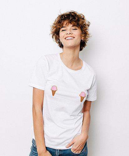 Tee-shirt, t-shirt motif, imprimé, dessin, glace, blanc, sur les seins, la poitrine, titsup