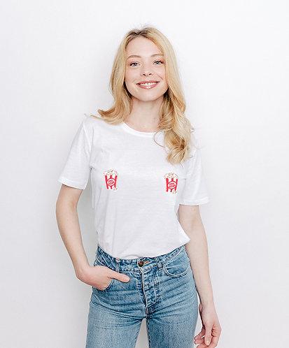 Tee-shirt, t-shirt motif, imprimé, dessin, pop corn, blanc, sur les seins, la poitrine, titsup