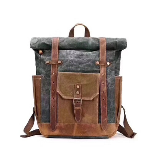 DaVan Green Waxed Canvas Backpack