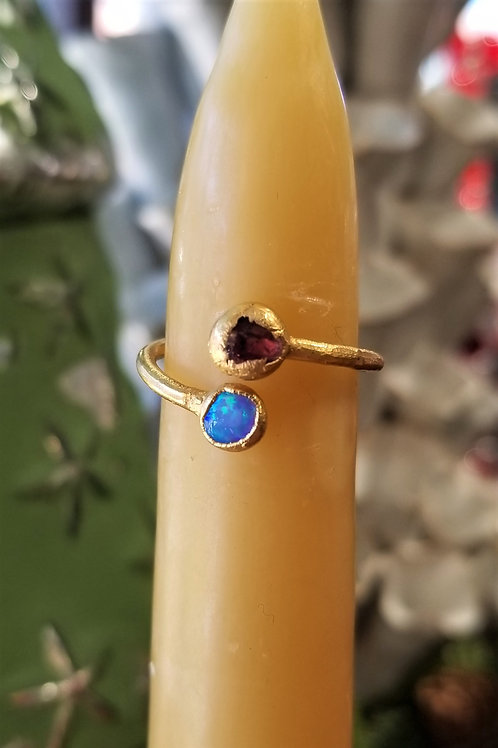 C & R Designs Amethyst and Opal Gold Plated Ring