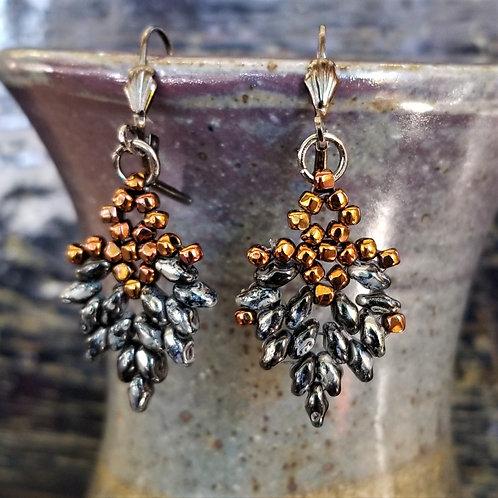 Joy of Wings Copper & Pyrite Beaded Earrings