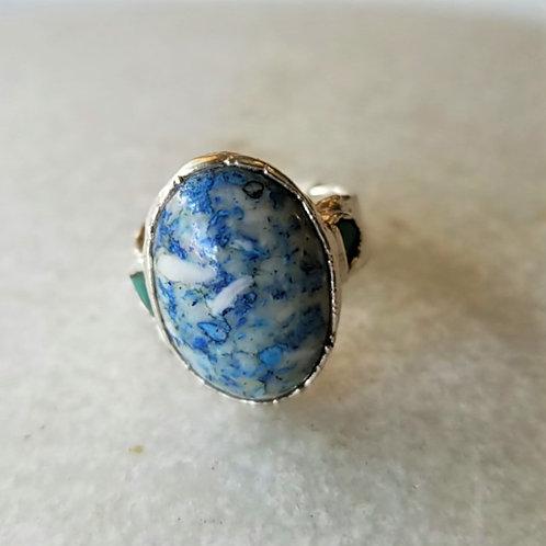 C&R Designs Fine Silver Blue Ring