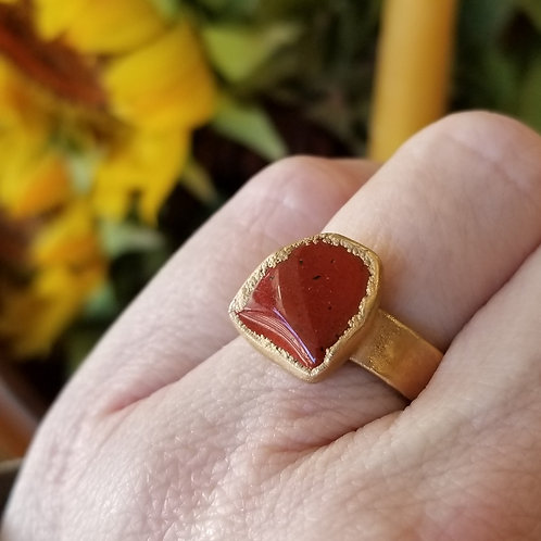 C&R Designs Jasper Gold Plated Ring size 8