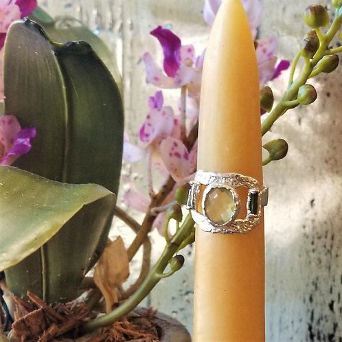 C & R Designs Citrine and Tourmaline Fine Silver Ring