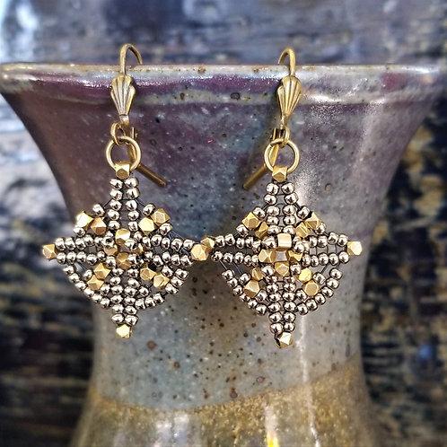 Joy of Wings Gold & Silver Beaded Earrings