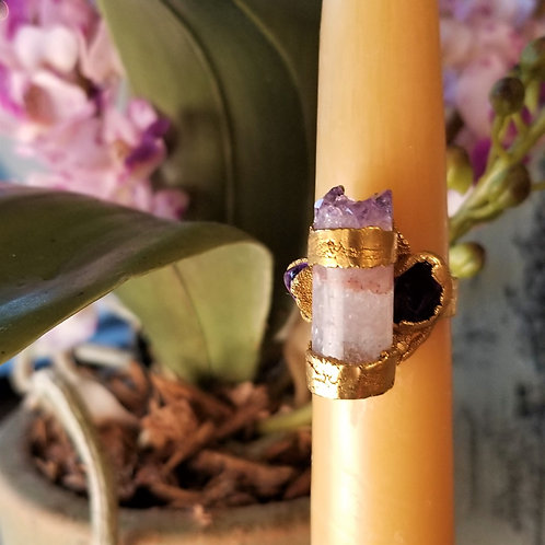 C & R Designs Amethyst Crystal and Amethyst Gold Plated Ring