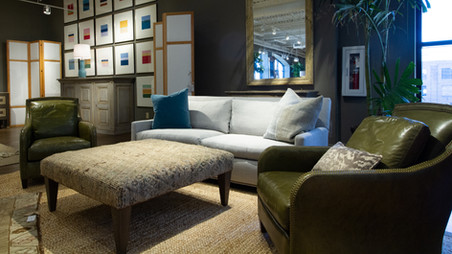 LEE Industries Sofa, Leather Chairs, and Ottoman