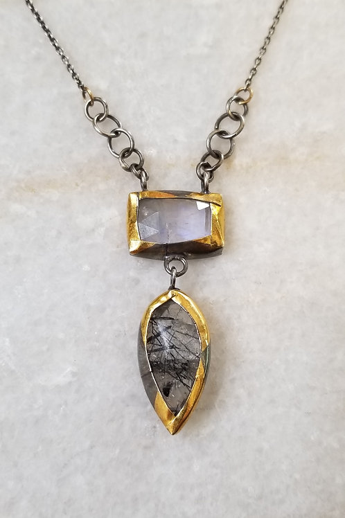 Austin Titus Studio Moonstone and Tourmalated Quartz Necklace