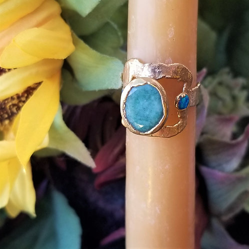 C&R Designs Chrysoprase and Opal Gold Plated Ring size 7.5