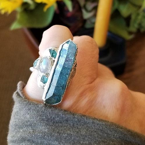 C&R Designs Blue Quartz and Moonstone Fine Silver Ring size 6