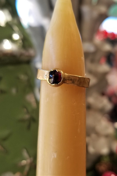 C & R Designs Garnet Gold Plated Ring