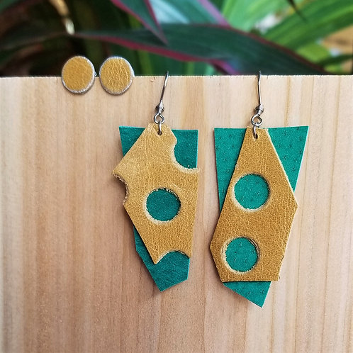 Betty Lou Leather Turquoise Cheese Earring Set