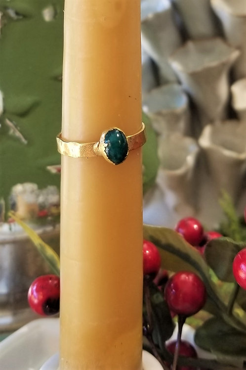 C & R Designs Jade Gold Plated Ring