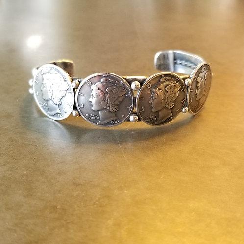 Peyote Bird Mercury Dime Cuff Bracelet