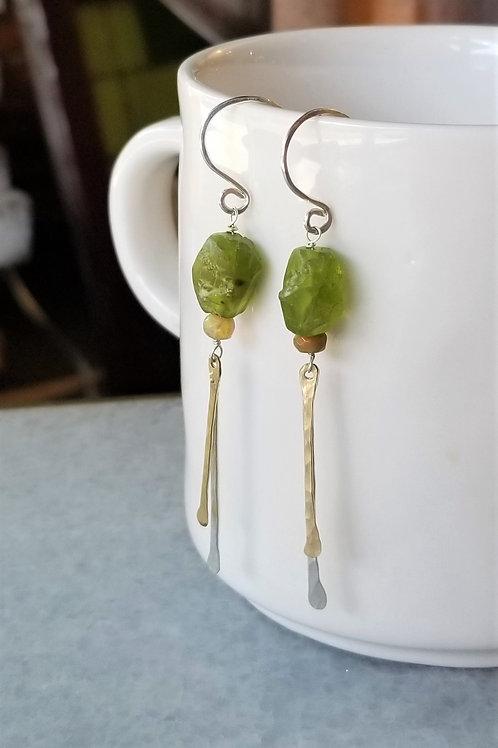 ObscurO Peridot & Opal Mixed Metal Earrings