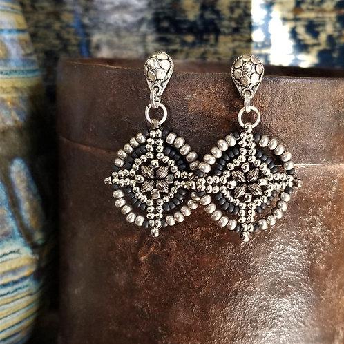 Joy of Wings Silver & Black Beaded Post Earrings