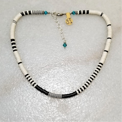 The Mermaid's Pearl B&W Record Bead Necklace