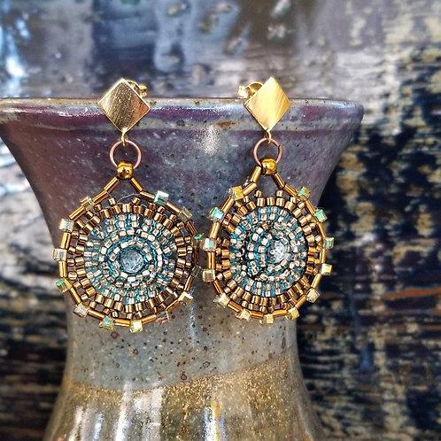 Joy of Wings Gold & Blue Beaded Post Earrings