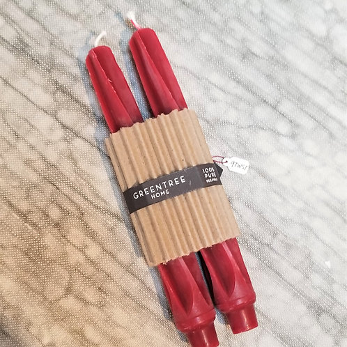 Greentree Home Beeswax Twist Taper Red Pair