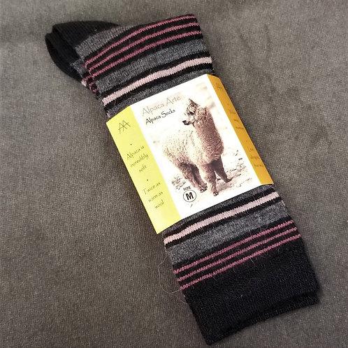 Tey Art Kelly Striped Alpaca Socks- Black