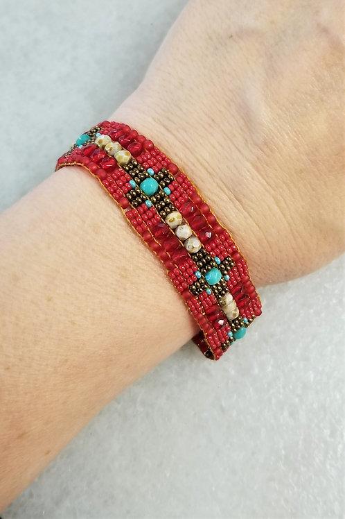 Chili Rose Bead Bracelet