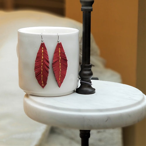 Betty Lou Leather Red Feather Earrings
