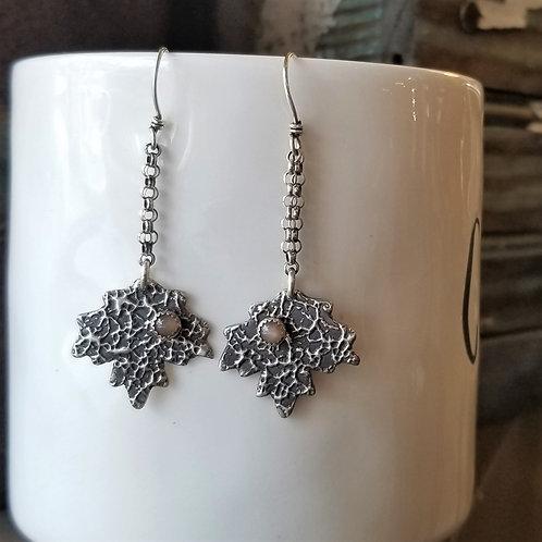 Texture & Tarnish Peach Moonstone Maple Leaf Earrings