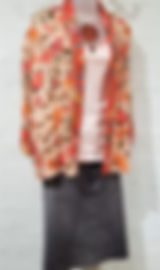 Johnny Was Printed Kimono, Wash Lab Jeans Skirt, ObscurO Jewelry Carved Jade Necklace