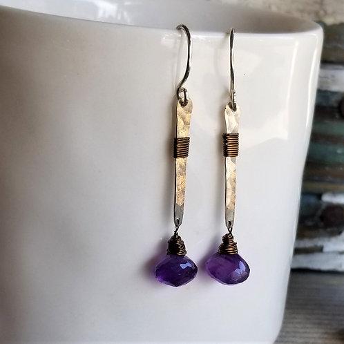 ObscurO Amethyst River Sticks Earrings