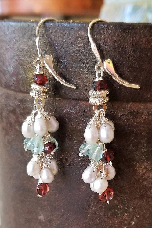 Luna Mar Pearl, Garnet, and Aquamarine Earrings