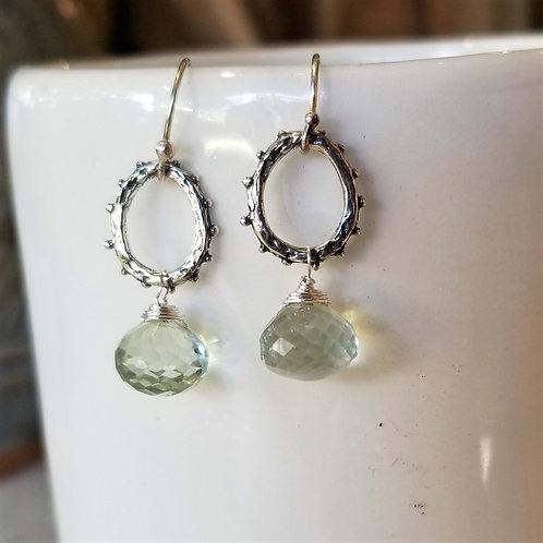 Luna Mar Green Amethyst & Sterling Earrings