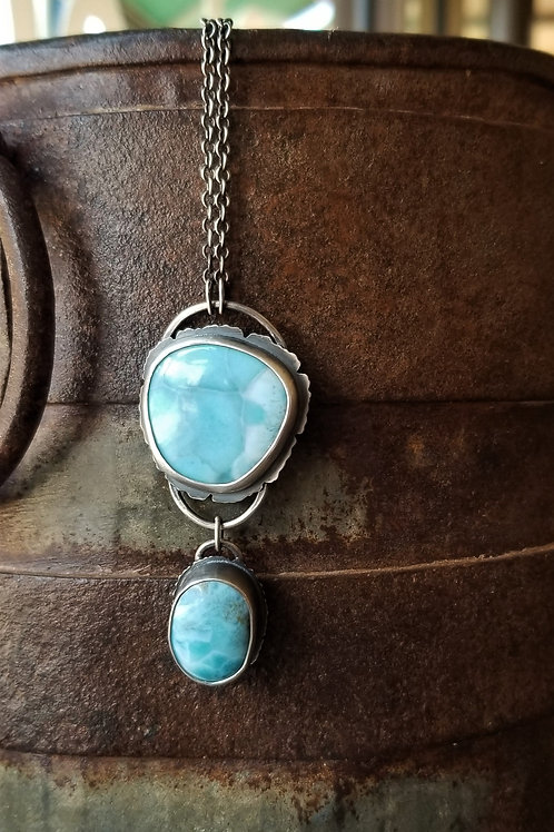 Feral Blue Larimar Double Stone Necklace