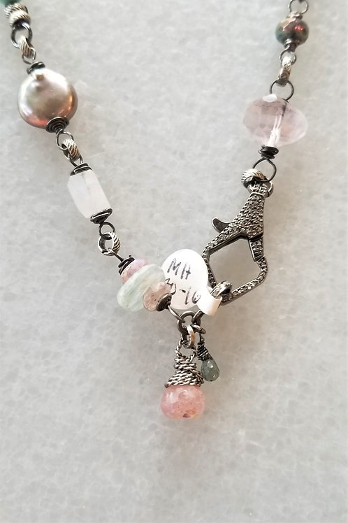 Joy of Wings Pave Clasp Multi Stone Necklace