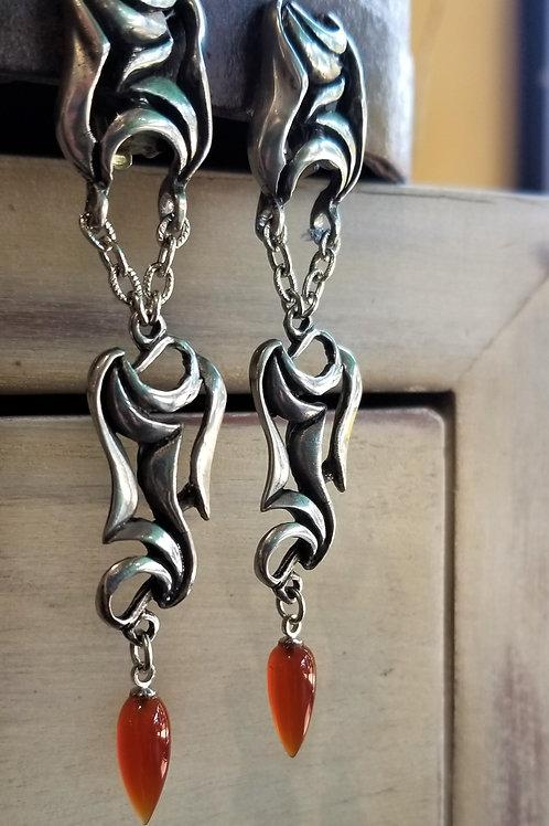 Farhenheit Tattoo Carnelian Clip Earrings