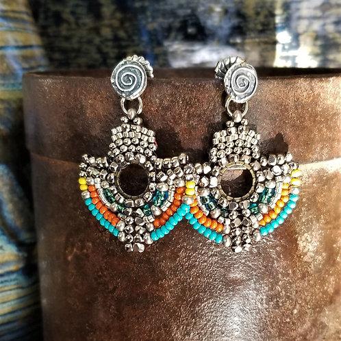 Joy of Wings Multi Colored Beaded Post Earrings