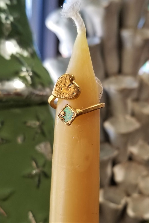 C & R Designs Opal and Heart Gold Plated Ring