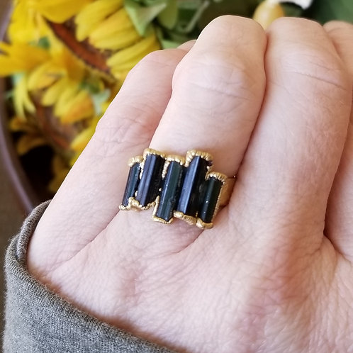 C&R Designs Tourmaline Gold Plated Ring size 7.5