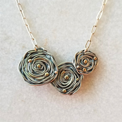Karen Wright 3 Rose Silver & Gold Necklace