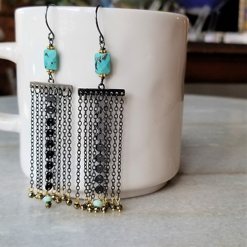 Luna Mar Turquoise and Chain Drop Earrings